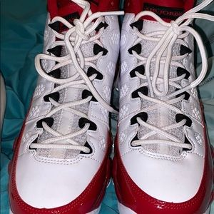 Red and White Jordan 9's